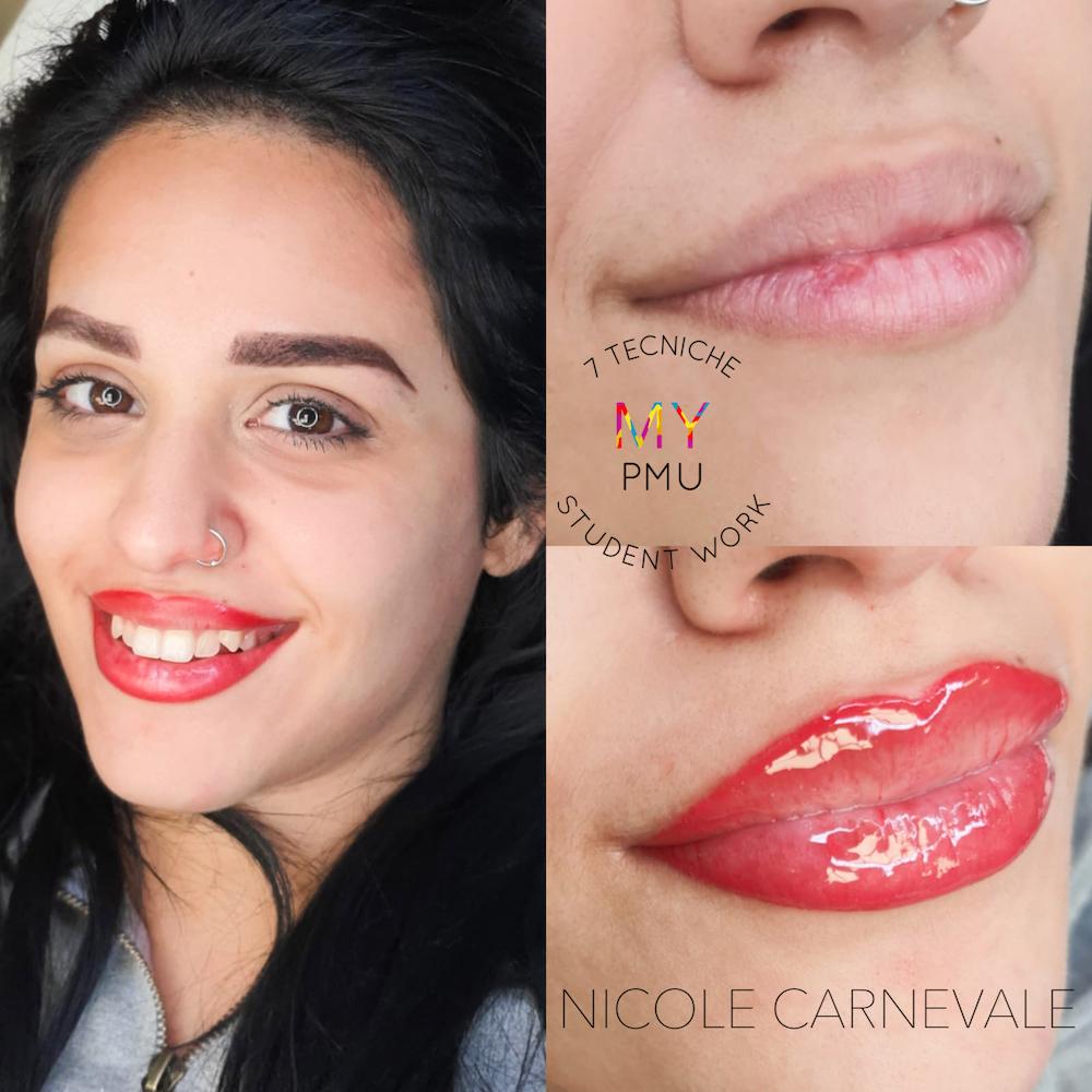 Lavoro allieve trucco permanente 7 tecniche Carnevale Nicole